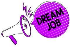 Écriture conceptuelle de main montrant le travail rêveur Photo d'affaires présentant un acte qui est payé par du salaire et de te illustration stock