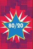 Écriture conceptuelle de main montrant 80 20 Photo d'affaires présentant le principe de Pareto de la distribution statistique d'e illustration stock