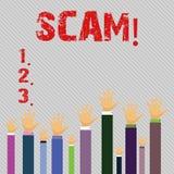 Écriture conceptuelle de main montrant Scam Personnes malhonnêtes de tour de fraude d'acte des textes de photo d'affaires pour ga illustration stock
