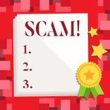 Écriture conceptuelle de main montrant Scam Photo d'affaires présentant les personnes malhonnêtes de tour de fraude d'acte pour g illustration stock