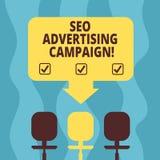Écriture conceptuelle de main montrant Seo Advertising Campaign Photo d'affaires présentant favorisant un site pour augmenter illustration stock