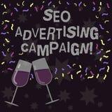 Écriture conceptuelle de main montrant Seo Advertising Campaign Photo d'affaires présentant favorisant un site pour augmenter illustration libre de droits