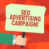 Écriture conceptuelle de main montrant Seo Advertising Campaign Texte de photo d'affaires favorisant un site pour augmenter le no illustration stock