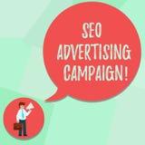 Écriture conceptuelle de main montrant Seo Advertising Campaign Texte de photo d'affaires favorisant un site pour augmenter le no illustration libre de droits