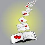 Écriture d'amour dans le livre Photos libres de droits
