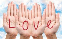 Écriture d'amour sur des mains Image stock