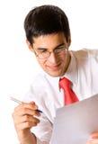 Écriture d'homme d'affaires, d'isolement Photographie stock libre de droits