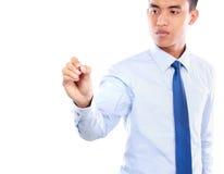 Écriture d'homme d'affaires, dessin sur l'écran Photographie stock