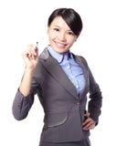 Écriture de femme d'affaires dans le ciel Images libres de droits