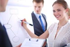 Écriture de femme d'affaires sur le flipchart tout en présentant l'exposé aux collègues dans le bureau Femme d'affaires Image libre de droits
