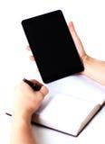 Écriture de main avec le stylo bille Images stock