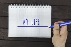 Écriture de main sur le bloc-notes : Mon épouse Image libre de droits