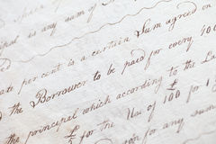 Écriture de manuscrit de fin du 18ème siècle Image stock
