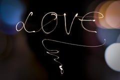 Écriture de projecteur d'amour Images stock