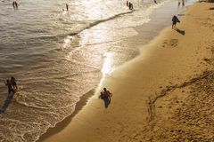 Écriture de sable sur la plage de Santa Monica Photographie stock