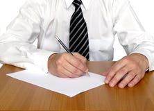 écriture de table d'homme d'affaires images libres de droits