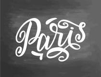 Écriture de tableau noir de tableau de Paris Texte manuscrit, craie sur un tableau noir, vecteur Tableau typographique de lettrag Image stock