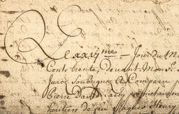 Écriture de vintage avec le texte latin Fond de papier grunge Photographie stock libre de droits