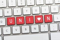 Écriture des SYNDICATS sur le clavier blanc avec un croquis de coeur avec le parenth Photographie stock
