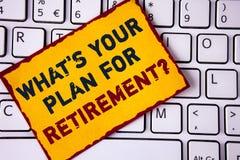 Écriture des textes d'écriture ce qui EST votre plan pour la question de retraite La signification de concept a pensé tous les pl Photo libre de droits