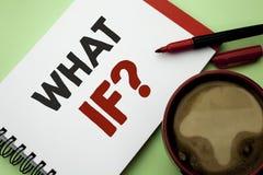 Écriture des textes d'écriture ce qui si question Signification de concept quelle question moyenne demandent fréquemment l'aide r Photos stock