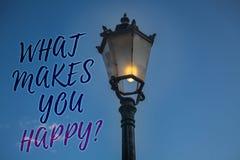 Écriture des textes d'écriture ce qui te fait la question heureuse Le bonheur de signification de concept vient avec l'amour et l Photos libres de droits