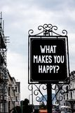 Écriture des textes d'écriture ce qui te fait la question heureuse Le bonheur de signification de concept vient avec l'amour et l Images libres de droits