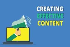 Écriture des textes d'écriture créant le contenu efficace Convivial instructif de données de valeur de signification de concept illustration de vecteur