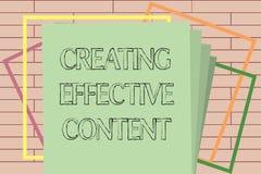 Écriture des textes d'écriture créant le contenu efficace Convivial instructif de données de valeur de signification de concept illustration stock