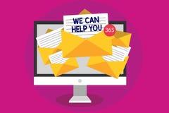 Écriture des textes d'écriture nous pouvons vous aider Receivin de offre d'ordinateur d'attention de service client d'aide de sou illustration stock