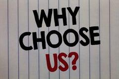 Écriture des textes d'écriture pourquoi choisissez-nous question La signification de concept raisonne pour choisir notre marque a image libre de droits