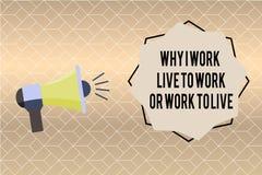 Écriture des textes d'écriture pourquoi je travaille Live To Work Or Work pour vivre Signification de concept définissant les pri illustration de vecteur