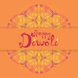 Écriture heureuse de félicitation de Diwali Festival indien de ligh Photos stock