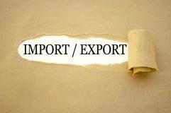 Écritures avec l'importation et l'exportation photographie stock libre de droits