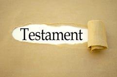 Écritures avec le testament photographie stock libre de droits