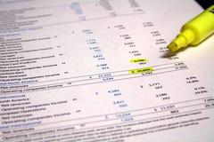 Écritures financières Image stock