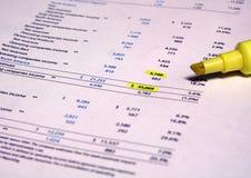Écritures financières Images stock