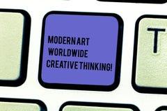 Écrivant à apparence de note Art Worldwide Creative Thinking moderne Clavier artistique de présentation d'expressions de créativi image stock