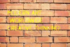 Écrivant à apparence de note Art Worldwide Creative Thinking moderne Expressions artistiques de présentation de créativité de pho photo libre de droits