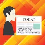 Écrivant à apparence de note Art Worldwide Creative Thinking moderne Homme artistique de présentation d'expressions de créativité photographie stock libre de droits