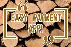 Écrivant à apparence de note l'appli de paiement facile Argent de présentation de photo d'affaires payé le produit ou le service  image stock