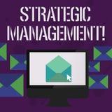 Écrivant à apparence de note la gestion stratégique Élaboration de photo d'affaires et exécution de présentation des buts princip illustration de vecteur