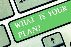 Écrivant l'apparence de note ce qui est votre plan La présentation de photo d'affaires nous montrent vos stratégies de programme  illustration libre de droits
