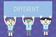 Écrivant l'apparence de note différente Photo d'affaires présentant pas les mêmes que des autres ou différent dans des enfants d' illustration de vecteur