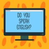 Écrivant l'apparence de note vous parlez Englishquestion Parler de présentation de photo d'affaires apprenant le blanc différent  illustration stock