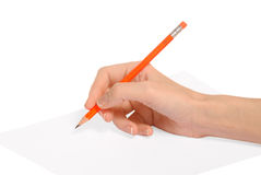 Écrivant le crayon rouge [chemin de découpage] photos stock