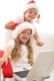 Écrivant une lettre à Santa - rétablissement d'ordinateur Images libres de droits