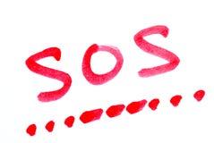 Écrivez le SOS avec son code Morse Images stock