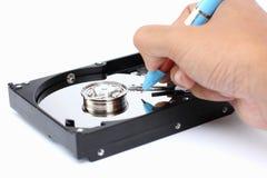 Écrivez les données au disque dur. Photo stock
