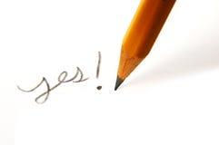 Écrivez oui Images libres de droits